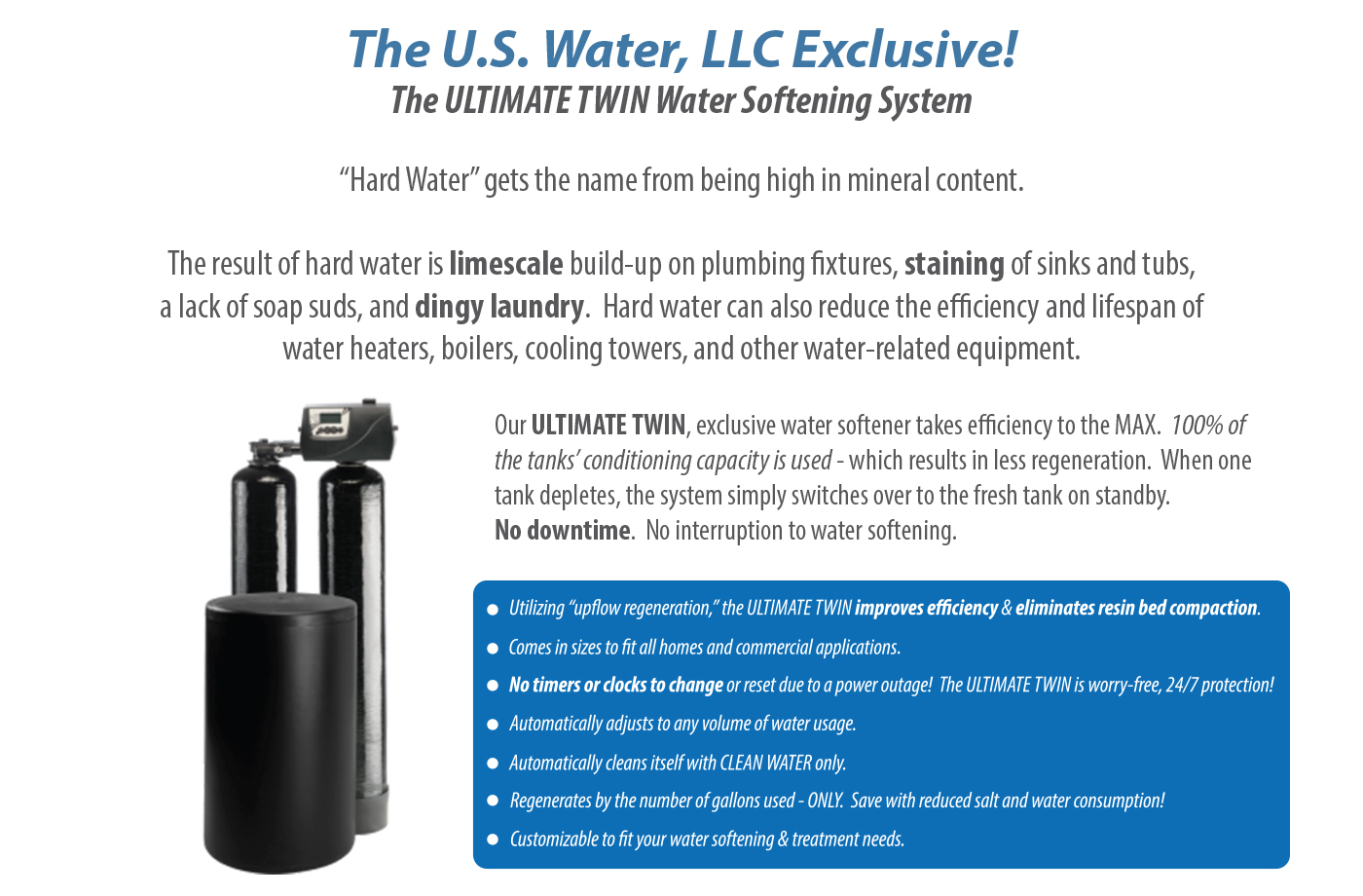 U.S. Water, LLC Ultimate Twin Water Softener